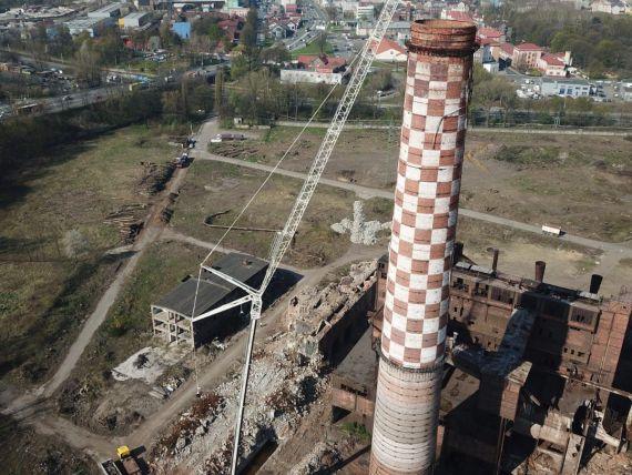 Demolácia komína Ostrava